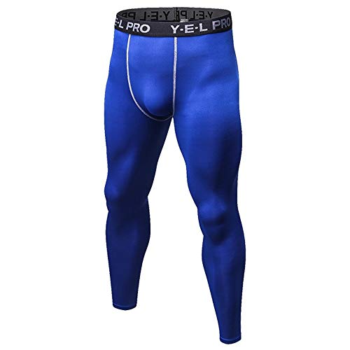 YABAISHI Mannen PRO Trainen loopband Broeken Tight Stretch Pants sneldrogende Sweat Pants (Color : Blue, Size : S)