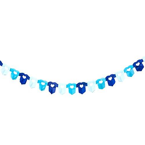 Oblique-Unique® 6m Papier Girlande Hemdchen Body Blau Baby Shower Geburt