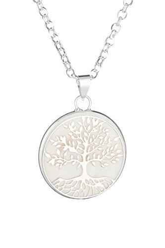 Córdoba Jewels   Gargantilla en Plata de Ley 925 con nácar. Diseño Árbol de la Vida Nácar Silver
