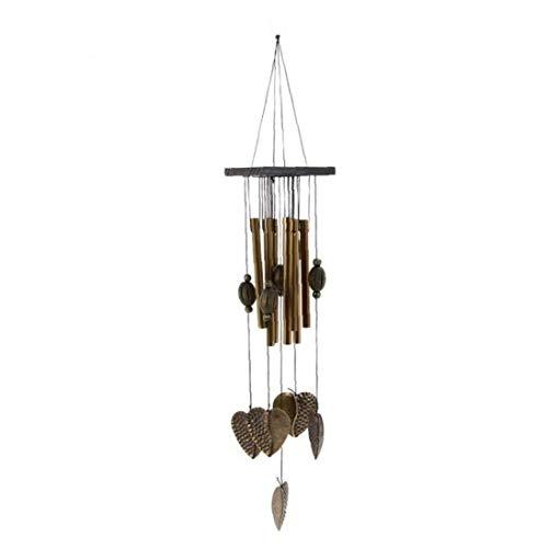 1pc Wind Chimes Love Heart Pandent Wind Chimes Bois Grain Métal Wind Chime Extérieur Rustique Jardin Suspendu Tuned Décor Mobile
