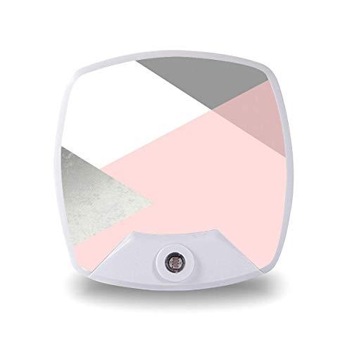 Lámpara LED de noche con sensor inteligente sensor de atardecer a amanecer, geometría gris rubor plateado lámpara blanca cálida para niños escaleras, pasillo cocina dormitorio