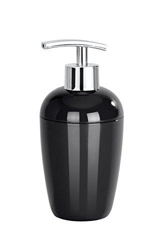 WENKO 21961100 Seifenspender Cocktail, Flüssigseifen-Spender, Spülmittel-Spender Fassungsvermögen: 0,43 l, Polystyrol, 8 x 17,5 x 8 cm, schwarz