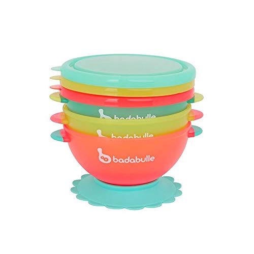 Badabulle Bunte Breischalen 3er-Set | hermetischer Deckel |rutschfester Saugnapf