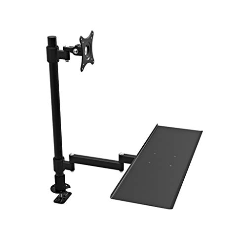 Binnen 24 Inches Single Screen Monitor Mount Bracket Desktop Sit Stand Workstation Monitor Stand Met Keyboard Tray (Color : Black, Size : A)