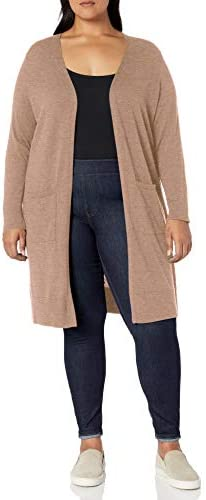 Amazon Essentials Women s Plus Size Lightweight Longer Length Cardigan Sweater Camel Heather product image