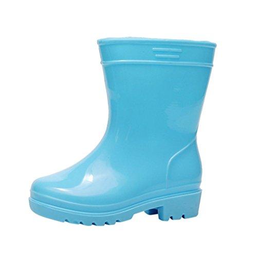 JERFER PVC Kinder Regenstiefel | Bunte Unisex-Gummistiefel für Mädchen und Jungen | wasserabweisend und schadstofffrei (30, Blau)