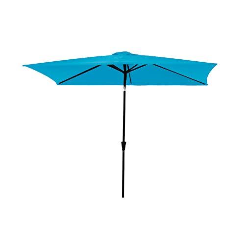 "C-Hopetree Rectangle Patio Outdoor Market Umbrella 6'6"" x 10' with Crank Winder, Push Button Tilt, Aqua Blue"