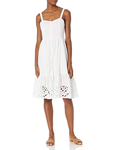 French Connection Women's Button Front Dress, Linen White, 4