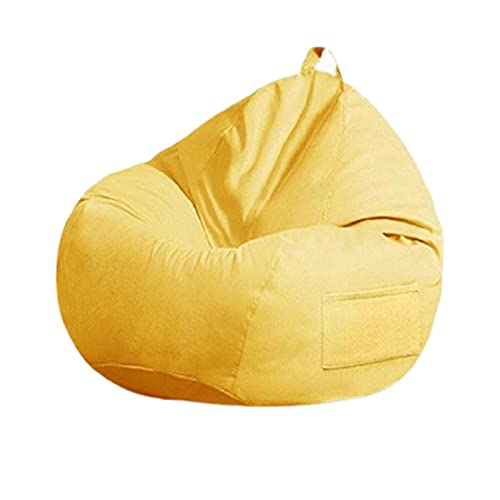 Soft Bean Bags Chairs For Kids, Teens, Adults - Fine Linenfabric Bag Chair - Dorm Room Comfy For Reading Game Meditating,Yellow Gray,Extra Large