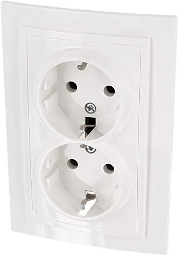 UP dubbel stopcontact - all-in-one - frame + inbouwinzet + afdekking (serie Z1 natuurlijk wit-crème)