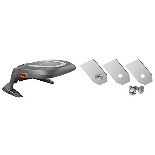 Gardena Garage für Mähroboter & Mähroboter Ersatzmesser: Klingen für Mähroboter (für Artikel 4071 und 4072), präzises Schneiden, Set mit 9 geschärften Messern und 9 Schrauben, einfaches Austauschen