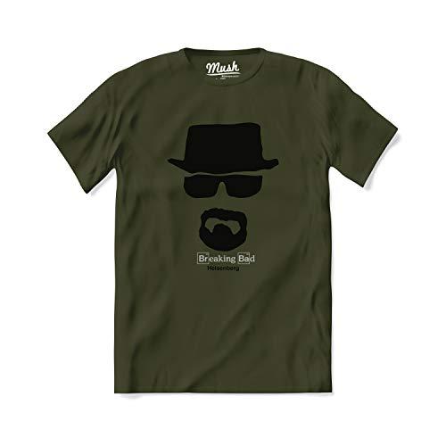 T-Shirt Heisenberg Breaking Bad - Serie TV - 100% Cotone Organico, M-Uomo, Verde Militare