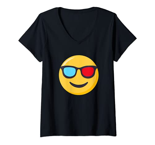 Mujer 3D gafas de dibujos animados divertidos 3D gafas de sol de dibujos animados Camiseta Cuello V