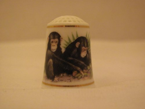 "Great Features Of Franklin Mint THIMBLE – ""Baby Animals"" CHIMPANZEE – (Marked Inside – FP / Bone China / WWF ""The World Wildlife Fund"" / 1981)"