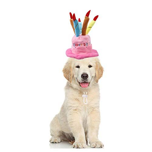 Bello Luna Pet Birthday Hat Verstellbarer kurzer Plüsch-Hundehut wie eine Geburtstagstorte Geeignet für die meisten Hunde und Katzen - Pink