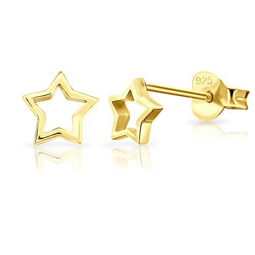 Pendientes amarillo dorado con forma de estrella