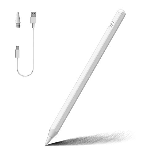 Tilt Sensitivity Palm Rejection Stylus Pencil for Apple iPad(2018 to 2020) 6/7/8th Generation/ipad Pro 11(1st/2nd)/ Pro 12.9(3rd/4th)/Air 3-4/Mini 5, Precise Writing/Drawing Active Digital Pen (WHITE)