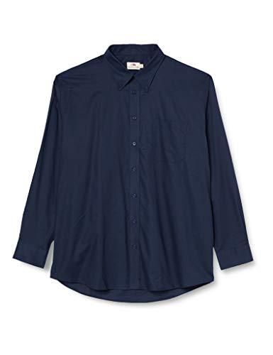 Fruit of the Loom Jungen Oxford Long Sleeve Hemd, Navy, XL
