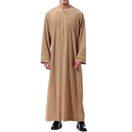 Adisputent Herren Kaftan Im Saudi-Stil Vintage Arabisch Lose Langarm-T-Shirt Muslim Hemd Ethnischen Robe Bademäntel Morgenmäntel