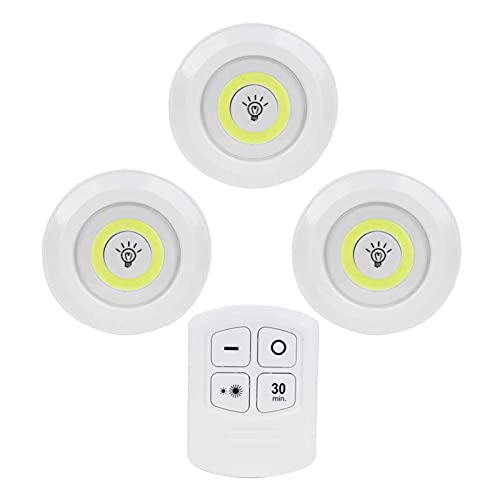 Luz de noche LED COB, luz de noche de 3 piezas, luces LED con control remoto, alimentadas por batería, lámpara de noche con atenuación de tiempo de luz de disco LED inalámbrica