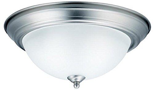 "Kichler 8112NI Flush Mount Round Glass Ceiling Lighting, Brushed Nickel 2-Light (14"" W x 6"" H) 60 Watts"