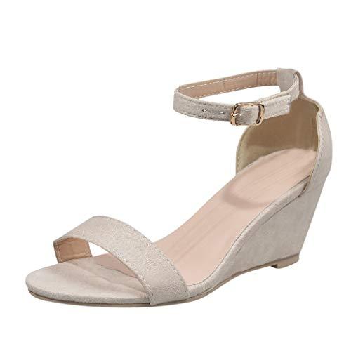 Femmes Sandales à Talons Hauts, Manadlian Chaussures Compensées Couleur Unie Escarpins à Talon Carré Été 5CM Chaussons (Beige-1, Numeric_35)