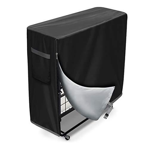 WES - Funda protectora cama plegable a prueba de polvo para interior y exterior, impermeable, multifunción, (negro)