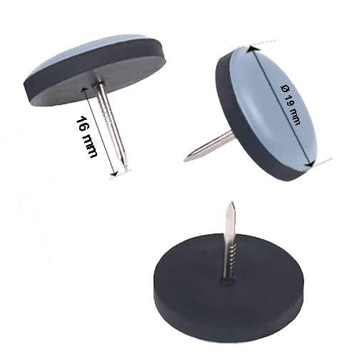 Lot de 16 patins de meubles ronds en téflon avec clou Ø 19 mm – 5 mm d'épaisseur / revêtement PTFE / patins en téflon / patins de chaise