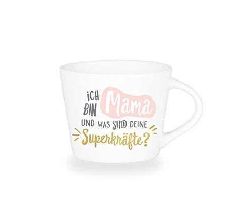 Grafik-Werkstatt Premium - Espresso -Tasse, Schreibkram Manufaktur, Goldveredlung, Ich Bin Mama und was sind Deine Superkräfte?