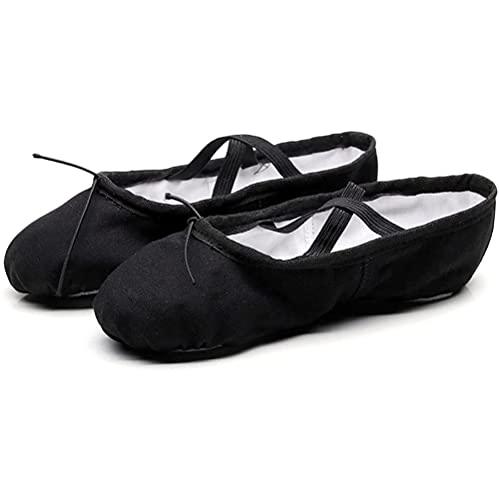 HOOPOO Zapatos de Ballet para niñas para Mujer, Lienzo Ballet Pisos Llantas de Baile Completo Suela para niños pequeños Negros (Size : 29 EU)