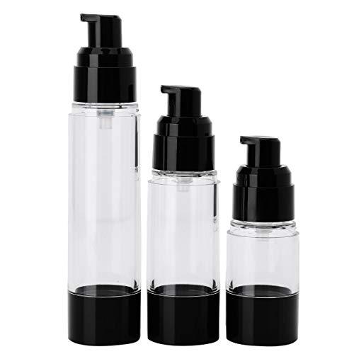 dPois 3Pcs Flacons de Pulverisateur Vide (15Ml 30Ml 50Ml) Distributeur Cosmétique en Plastique Flacons à Pompe Vides Rechargeables pour Crème de Visage Maquillage Voyage Noir A Multi