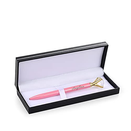 Jewelora Bolígrafo personalizado Caja de regalo de diamantes Nombre personalizado Grabado Oficina Material escolar Regalo para mujeres Niñas Personal de estudiantes Cumpleaños (Pink)