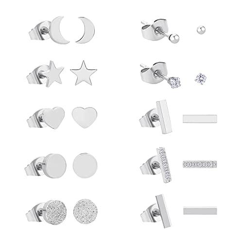 KRKC&CO - 10 pares de pendientes de acero inoxidable para mujer, pendientes plateados, pendientes con circonitas, juego de pendientes para hombres y mujeres