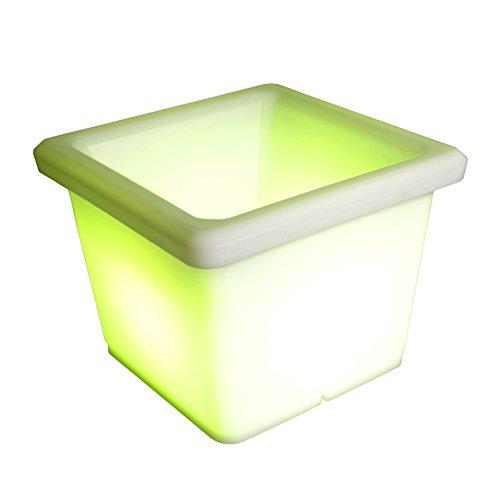 LED Pot à fleurs lumineux Ø 35 cm Seau à champagne à glace multicolore RGB 16 couleurs sans câble avec accumulateur et télécommande Etanche et flottant IP65 Extérieur mood cube