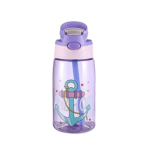 QIANMO Vasos de Paja Botella de Agua Portátil de Dibujos Animados Lindo 480ML para Deporte Senderismo Escalada Taza Transparente a Prueba de Fugas