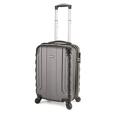 TravelCross Chicago Carry On Lightweight Hardshell Spinner Luggage - Dark Gray