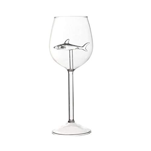 Copas de vino tinto creativas de 300 ml con tiburón en el interior, sin plomo, cristal transparente, copas de vino para la cocina, fiesta, bar celebración