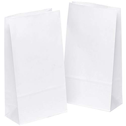kgpack 50 STK. Papiertüten klein 14 x 26 x 8 cm Bodenbeutel, auch, Obstbeutel, Mitgebseltüten, Butterbrottüten, Süßigkeiten, Geschenkverpackung, Gastgeschenke Tüten aus Weiß Kraft Geschenkpapier