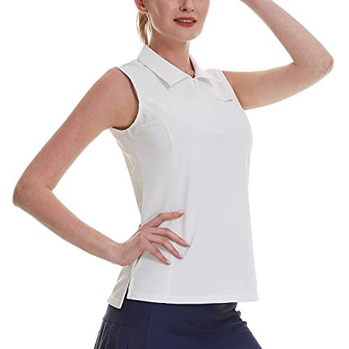 BALEAF Women's Sleeveless Polo Shirts Golf Tennis Quick Dry Tank Tops with Collar Front Zipper UPF 50+ White L