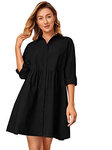 DIDK Dam skjortklänning elegant lös blusklänning långärmad höstskjorta klänning tunika klänningar fritidsklänning knappar ledig skjorta klänning kort klänning