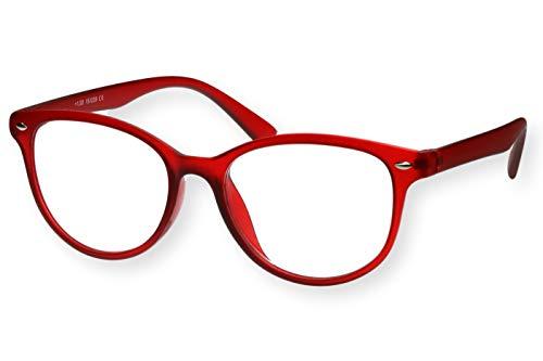 Lesebrille Damen Rot Weinrot transparenter Rahmen sehr leicht runde ovale Form durchsichtiges Gestell schmale Bügel Lesehilfe Sehhilfe 1.0 1.5 2.0 2.5 3.0 3.5, Dioptrien:Dioptrien 3.0