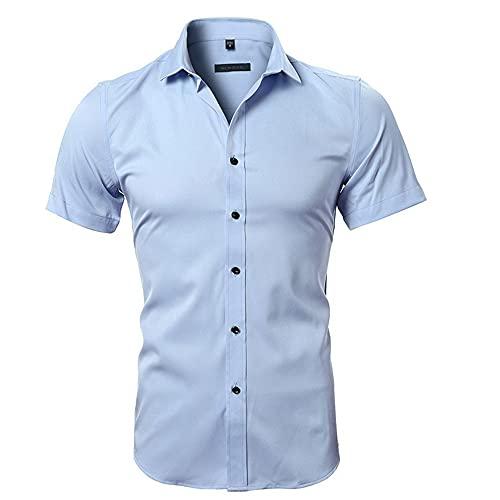 Tradicional Camisa Hombre Moderna Urbana Ajustado Elástica Hombre Shirt Verano Cárdigan Sencillez Color Sólido Hombre Manga Corta Diario Negocios Casual Hombre Camisa D-Blue 1 M