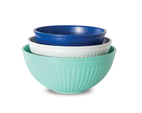 Nordic Ware Prep & Serve Mixing Bowl Set, 3-pc, Set of 3, Coastal Colors