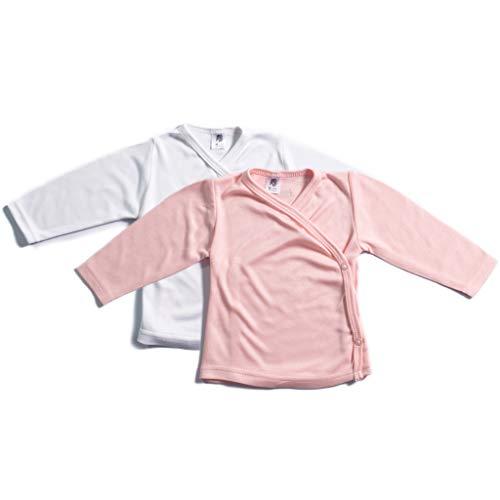 Booboobro Booboobro 100% Bambus Mädchen Baby Langarm Wickelshirt im 2er Pack (Rosa/Weiß 56)