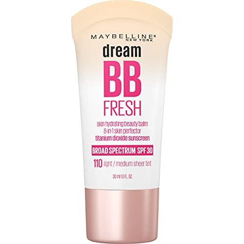 Maybelline Dream Fresh Skin Hydrating BB cream, 8-in-1 Skin Perfecting Beauty Balm with Broad Spectrum SPF 30, Sheer Tint Coverage, Oil-Free, Light/Medium, 1 Fl Oz