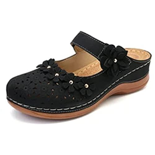 2021 Sandalias de flores vintage de verano para mujer, sandalias de cuña informales vintage,Sandalias para mujer elegantes,Zapatillas de plataforma de playa de colores retro para mujer (H,6)
