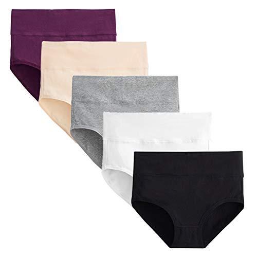FALARY Bragas Mujer Cintura Alta Algodón 5 Piezas Multicolor L