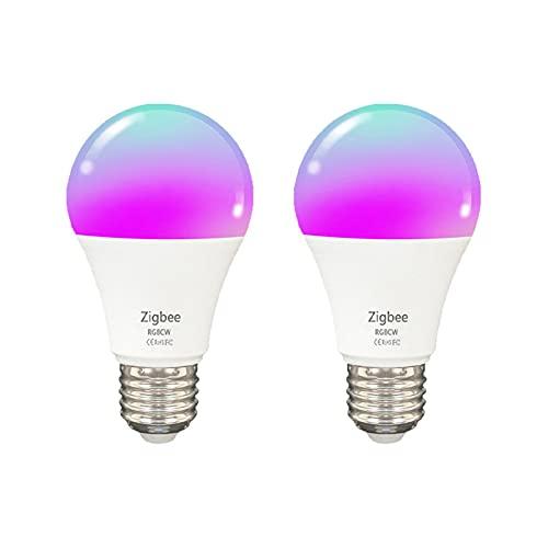 Bombillas LED ZigBee, Bombillas Inteligentes, Compatible con Alexa, Google Home e IFTTT, Regulable y Cambio de Color RGB, Sin WiFi,...