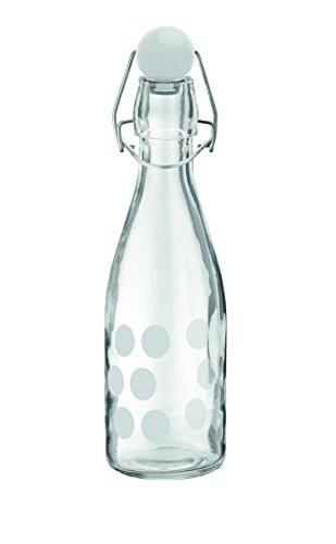 Zak Designs Dot Botella Cristal Blanco, Cristal, Blanco, 250 ml