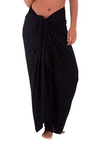 Shu-Shi Womens Beach Cover Up Sarong Swimsuit Cover-Up Many Solids Colors to choose,Black,One Size